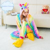 Wholesale Jumpsuit Pajamas Women - Unicorn Pajamas Woman Kigurumi Rainbow Star Unicorn Pyjamas Halloween Party Onesie Cosplay Costume With Tail Horn Galaxy Sleepwear Jumpsuit