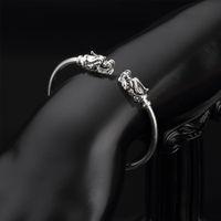 Wholesale Copper Work - Free Shipping Works Dragon Charm Bracelets 925 Sterling Silver Jewelry Open Size Bangle Charm Bracelets and Bangles