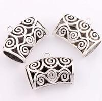 Wholesale Diy Scarves - Filigree Scarf Bails Floral and Swirls 12pcs lot 34.6x43mm Tibetan Silver Charms Fashion Jewelry DIY L791