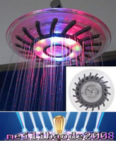Wholesale Wall Mount Overhead Shower Heads - 2016 LED Shower head Wall Mount Rainfall overhead Showerhead Shower Head with Build-in LED Light 4 Mixed-color  Single color 7 colors MYY