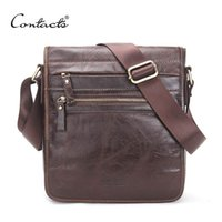 Wholesale Commercial Coffee - CONTACT'S New Fashion Genuine Leather Man Messenger Bags Cowhide Male Cross Body Bag Casual Men Commercial Briefcase Bag