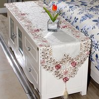 Wholesale Embroidery Dining Table Covers - Wholesale-Simple Embroidery Cloth Pastoral Dining Table Runner European Art Bed Flag TV Cabinet Cloths Cover Special Cup Mats Home Textile
