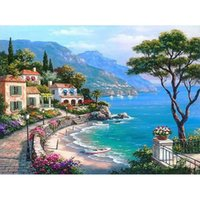 Frameless The Mediterranean Sea Seaside DIY Pintura Digital Por Números Wall Art Decoration Hand Painted For Home Decor 40x50cm