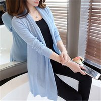 Wholesale Womens Sweater Shawl - Wholesale- The spring in the New Womens 2017 loose long sweater cardigan sweater shawl female thin coat for summer air conditioning ZY3063