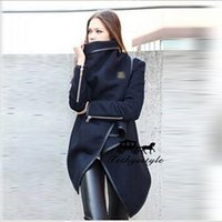 Wholesale Ribbed Dress - Woolen Foreskin Skirt Irregular Loose Black Coat Warm Zipper Decoration Overcoat Women Winter For Dress Coats