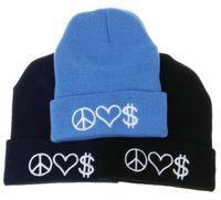 ingrosso cappelli di beanie rosa neri-Peace Love Money Lettera Ricamo Hip Hop Knitted Slouchy Berretti Per Adulti Uomo Donna Inverno Cappelli Popolare Snow Cap Rosa Rosso Colore nero