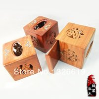 Wholesale Crafts Tissue Boxes - Wholesale- Free Shipping Wood Tissue Box Mahogany vietnam rosewood crafts sallei flower cutout classic wood tissue box