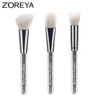 Wholesale Make Up Brushes Zoreya - Zoreya Brand 3pcs Lots Crystal Makeup Brush Set For Beautiful Women Foundation Brush Blush Make Up Brush Tools