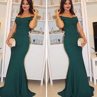 vestido de la sirena del trullo al por mayor-2017 Sexy Elegante Fuera del Hombro Vestidos Formales Ropa de Noche Teal Verde Plisados Vestidos de sirena Party Prom Vestidos Árabe Por Encargo