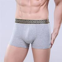 xs tayt toptan satış-Vogue erkek iç çamaşırı boksörler şort pamuk marka tasarımcısı cuecas boksör altın sıkı kemer erkekler kamyon kaliteli külotu