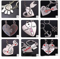 Wholesale Keychain Love - 2016 fashion new 9 different style I LOVE YOU Heart Keychain Ring Keyring Lover Romantic Creative New chaveiro couple Key Chain Best Gift