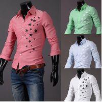 Wholesale Pentagram Design - Star Shirt Men Fashion printing star pentagram pattern design stand collar single breasted long sleeve mens casual shirts free shipping