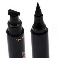 sıvı göz makyajı toptan satış-Özledim Gül marka makyaj sıvı eyeliner kalem hızlı kuru su geçirmez göz kalemi siyah renk ile damga güzellik göz kalem