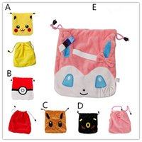 Wholesale Wholesale Pikachu Animal Backpacks - Pikachu Cartoon Plush Drawstring bag Eevee Sylveon Umbreon plush draw string Pouch Cute Pocket Monster Bag Christmas Gift Bag