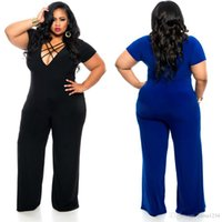 Wholesale Sexy Crosses Jumpsuits - jumpsuit plus size for women deep v fashion romper mesh bodysuit sexy backless shorts ladies summer blue black color night club clothes 4XL