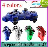 Wholesale Ps Controller Bluetooth - 50pcs Transparent 4 colors Compateble For P3 controller Joysticks Gamepads Controller Wireless Bluetooth Game Controller ZY-PS-04