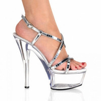 Wholesale Paillette Sandals - 15cm ultra high heels platform noble paillette sandals Silver Mirror and Clear 6 Inch High Heel Mid Platform Strappy Sandals