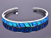 925 pulseras de plata para niñas al por mayor-Venta al por mayor al por menor de moda fina azul Fire Opal Bangles 925 joyería plateada de plata para las mujeres _DSC305