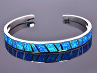 Wholesale Fire Bangles - Wholesale & Retail Fashion Fine Blue Fire Opal Bangles 925 Silver Plated Jewelry For Women _DSC305