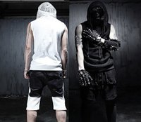 Wholesale Korean Sexy Clothes - Wholesale- 2016 New Arrivial Korean Cool Summer Gothic tank tops sleeveless men With hooded Black White Slim fit Rock punk clothes
