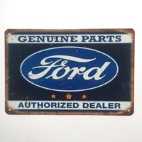 Wholesale wholesale man cave - Ford Genuine Parts Authorized Dealer Retro Vintage Metal Tin sign poster for Man Cave Garage shabby chic wall sticker Cafe Bar home decor