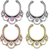 Wholesale Hinged Steel Ring - 10pcs 2016 wholesale Hinged Septum Clicker Hanger Gold Plated Nose Ring Hoop fake septum body piercing jewelry