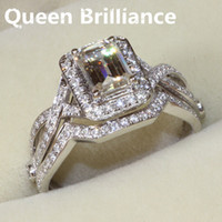 Ajuste Del Halo Del Oro Blanco 14k Baratos-Queen Brilliance 1 quilate esmeralda corte Halo Engagement Lab crecido Moissanite anillo de diamantes conjunto genuino 14k 585 oro blanco 17903