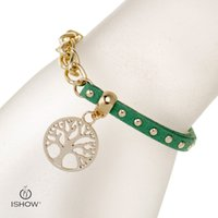 Wholesale Christmas Tree Cheap - Unisex Green charm bracelets velvet rivet the life of tree I SHOW luxury brand designer cheap jewelry infinity men women
