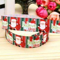 """Wholesale Stripes Grosgrain Ribbons - 7 8"""" 22mm Belivev Magic Christmas Santa Stripes Printed Grosgrain Ribbon for Baby Hair Bow Party Decorates 50 100 Yds A2-22-2905"""