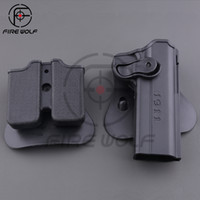 Wholesale Holster Polymer - 1911 Gun Holster Polymer Retention Roto Holster and Double Magazine holster Fits 1911 Style Airsoft Tactical