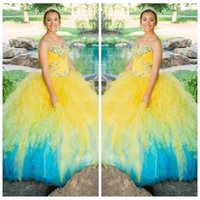 Wholesale Triangle Multi Color Beads - Vogue 2016 Top Sale Ball Gown Beading Quinceanera Dresses New Multi Colours Dress for Girls 16 years Puffy Yellow and Blue Quinceanera Dress