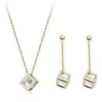 серьги внутри оптовых-USTAR куб внутри Циркон кристаллы комплект ювелирных изделий для женщин золотой цвет серьги и ожерелье невесты свадебный подарок bijoux