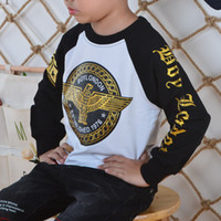 Wholesale Boys Cool Sweaters - Baby Boy Clothes Golden Eagle Printing Patchwork O-Neck Jumper Sweater Long Sleeve Cotton Leisure High Quality Fashion Cool Soft Breathable