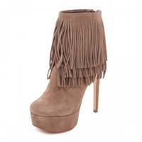 2016 Womens Fashion Brown Bottes Tassel Custom Made Party Evenig Bottes pas cher modestes sexy talons hauts Zipper Nouvelle Arrivée Hot Sale Cheap
