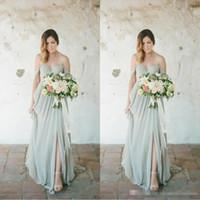 damas de honor vestidos sabio al por mayor-.Sage Boho vestidos de dama de honor 2017 Eleagnt largo para el vestido de la huésped de la boda gasa del lado del hombro partido más el tamaño de la dama de honor vestidos