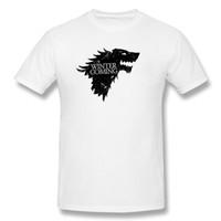 Wholesale Nice Shirts Cotton - Mens Short Sleeve T Shirt Winter is Coming Stylish T Shirts Mens T Shirt Quotes Carbon Hip Hop Slim Fit Mens Nice Shirts