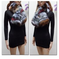 Wholesale Colorful Scarves Muffler - new arrival winter faux raccoon fur scarf fake fox fur muffler women faux fur collar colorful patchwork scarf eco-friendly