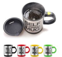 Wholesale Mug Automatic - Self Stirring Mug Automatic Mixing Electric Coffe Mugs Stainless Steel Cups 4 colors Creative Drinkware With Lids Convenient Cup DHL