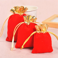 Wholesale Wedding Rings Velvet Bags - 3 Color Velvet Gold Trim Drawstring Jewelry Gift Bags Pouches Earring Necklace Ring Jewelry Storage Bags Christmas Wedding Gift Package