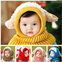 Wholesale free knit baby hats resale online - Winter Baby Hat and Scarf Joint With Crochet Knitted Caps for Infant Boys Girls Children New Fashion Kids Neck Warmer