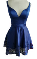 Wholesale school girl prom dress resale online - 2019 Sexy Charming V neck Homecoming Gowns for School Party Hollow Satin Mini Skirts Girls Cocktail Waist Ribbon Sash Prom Pageant Dresses