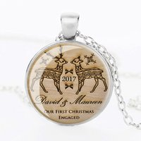 Wholesale Gold Gifts Christmas Pictures - 3 colors hot sale antique bronze christmas gift necklace silver wedge deer picture art glass cabochon pendant necklace wholesale