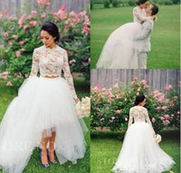 Wholesale Brautkleider Winter - Vintage High Low Wedding Dresses 2016 Cheap White Lace Two Pieces Tulle Beach Wedding Gowns Ball Full Long Sleeve Brautkleider Puffy
