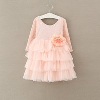 Wholesale Korean Wedding Gown Wholesale - beach wedding dresses Girls Tutu Dress Korean Children Clothing Flower Long Sleeve Girl Dress Tulle Tiered Kid Party Dresses C2120