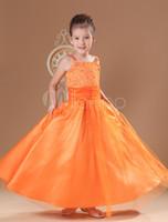 yeni moda net elbiseler toptan satış-2016 Yeni Bahar Cazip Turuncu Spagetti Net Sevimli Boncuk Küçük kızın Pageant elbise Custom Made Moda Çocuklar Elbiseler