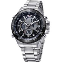 Wholesale Weide Watch Chronograph - Weide Mens Army LCD Analog Dual Display Date Day Chronograph Sport Runner Watch