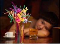 Wholesale Happy Birthday Straw - Drop shipping Plastic Drinking Straw 200pcs Lot Multicolor Wedding Party Straws Event Party Supplies Happy Birthday Decoration palha