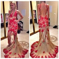 2016 Sexy Spaghetti Red SpitzeAppliques High Low Nixe-Abschlussball-Kleider Champagne Hallo-Lo Bohe Sommer Backless Abend wulstige Kleid