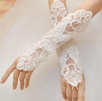 Wholesale Elbow Length Gloves Ivory - 2016 In Stock New White Ivory Lace Gloves Bridal Fingerless With Crystal Short Satin Gloves For Wedding Bridal Gloves Online