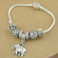 Wholesale Silver Snake Charm Chain - Vintage Antique Silver Plated European Snake Chain Elephant Pandora Beads Bracelet Charms For Sale Jewelry Alloy